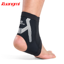 Kuangmi 1 Piece Sports Ankle Support Comfortable Breathable Compression Sleeve Silicone non-slip stips Foot Gurards Brace