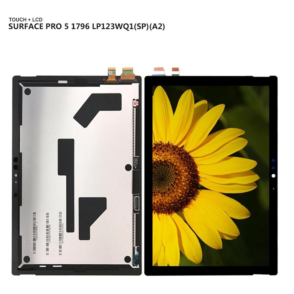 Pour Microsoft surface pro5 pro 5 Modèle 1796 LP123WQ1 (SP) (A2) panneau d'affichage LCD Combo Écran Tactile Capteur En Verre Pièces De Rechange