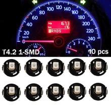 10 Pcs T4 T4.2 Instrument LED Bulb 2835 SMD 1 LED White Blue Red Green Light Neo Wedge Cluster Gauge Dash Climate Base Lights