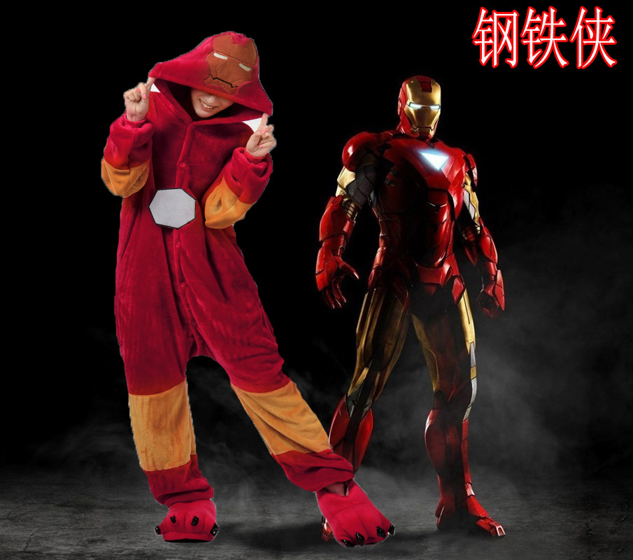 New Arrival Halloween Costume Cartoon Iron Man Cosplay Costumes Winter Conjoined Onesie Pajamas Cool Carnival Costume S-XL ...
