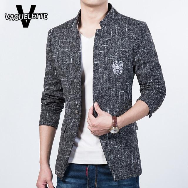 de58c46613c Fashion Mens Blazer Jacket Tweed Mandarin Collar Slim Fit Korean Stylish Clothing  Plus Size Mens Coat And Blazers M-5XL