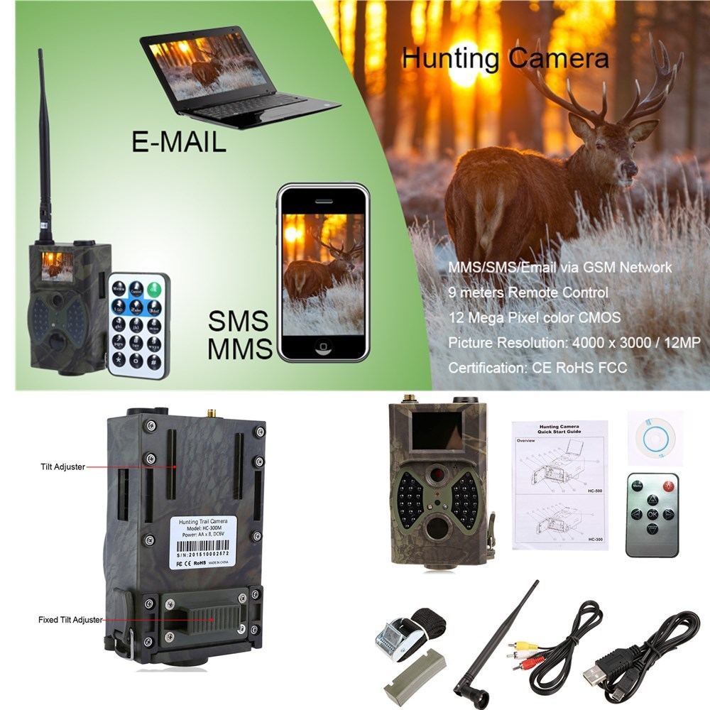 HC300M 940NM Infrared Night Vision Camera 2G MMS GPRS 12MP Digital Trail Hunting Camera For Hunting Support MMS Remote Control keyshare dual bulb night vision led light kit for remote control drones
