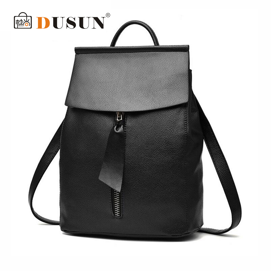 DUSUN New Brand Women Fashion Leisure PU Backpack Student Double Shoulder Bag Simple Female Retro Solid Color Girl Travel Bags anime tokyo ghoul cosplay anime shoulder bag male and female middle school student travel leisure backpack