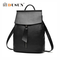 DUSUN New Brand Women Fashion Leisure PU Backpack Student Double Shoulder Bag Simple Female Retro Solid