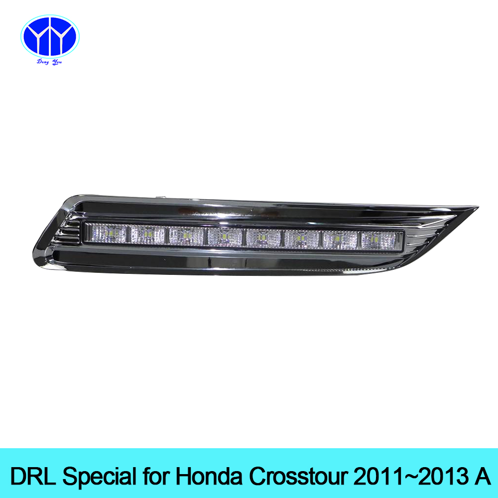 Car DRL kit for Honda Crosstour 2011 2012 2013 LED Daytime Running Light bar Super bright fog auto lamp daylight car led drl 12v qvvcev 2pcs new car led fog lamps 60w 9005 hb3 auto foglight drl headlight daytime running light lamp bulb pure white dc12v