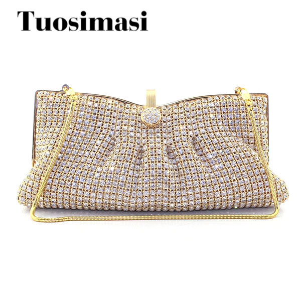 Gold Woman Evening bag Women Diamond Rhinestone Clutch Crystal Chain Shoulder Small Purse Gold Wedding Purse Party Evening Bags newest design evening bags ring diamond clutch chain shoulder bag purses wedding party banquet bag blue gold green red 88621 d