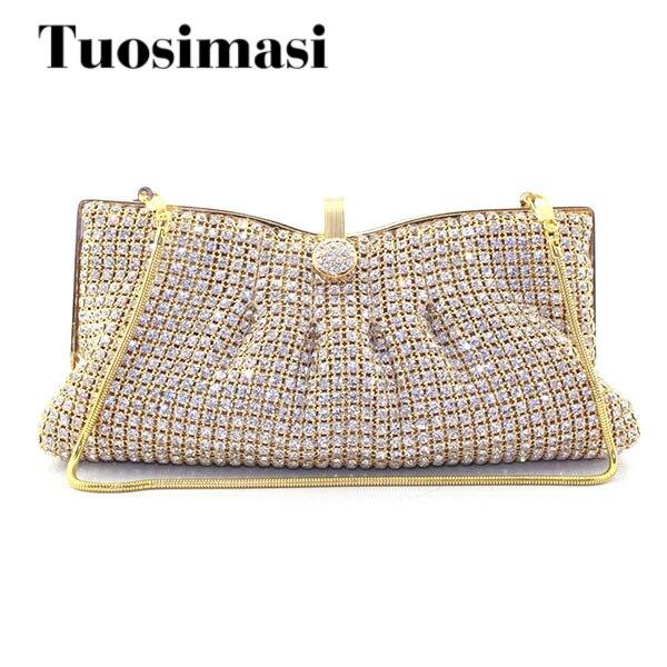 Gold Woman Evening bag Women Diamond Rhinestone Clutch Crystal Chain Shoulder Small Purse Gold Wedding Purse Party Evening Bags