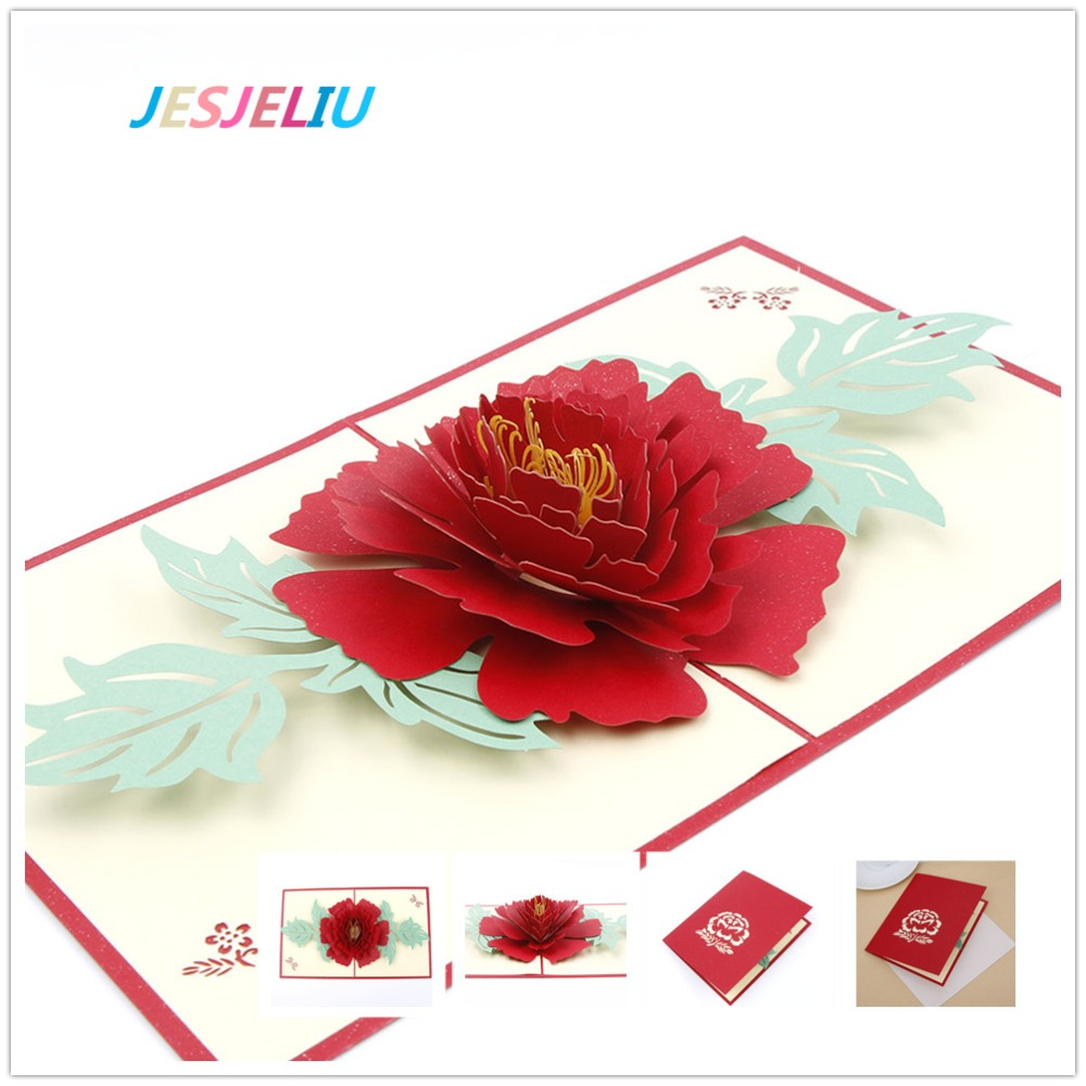 3D Pop Up Greeting Cards Peony Birthday Valentine Mothers Day Christmas Thanks Postcard Letter Paper Gift New