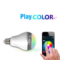 Multi Color Changing Music Speaker E27 Intelligent LED Light Bulb Wireless Bluetooth Lamp Wifi Via Smartphone