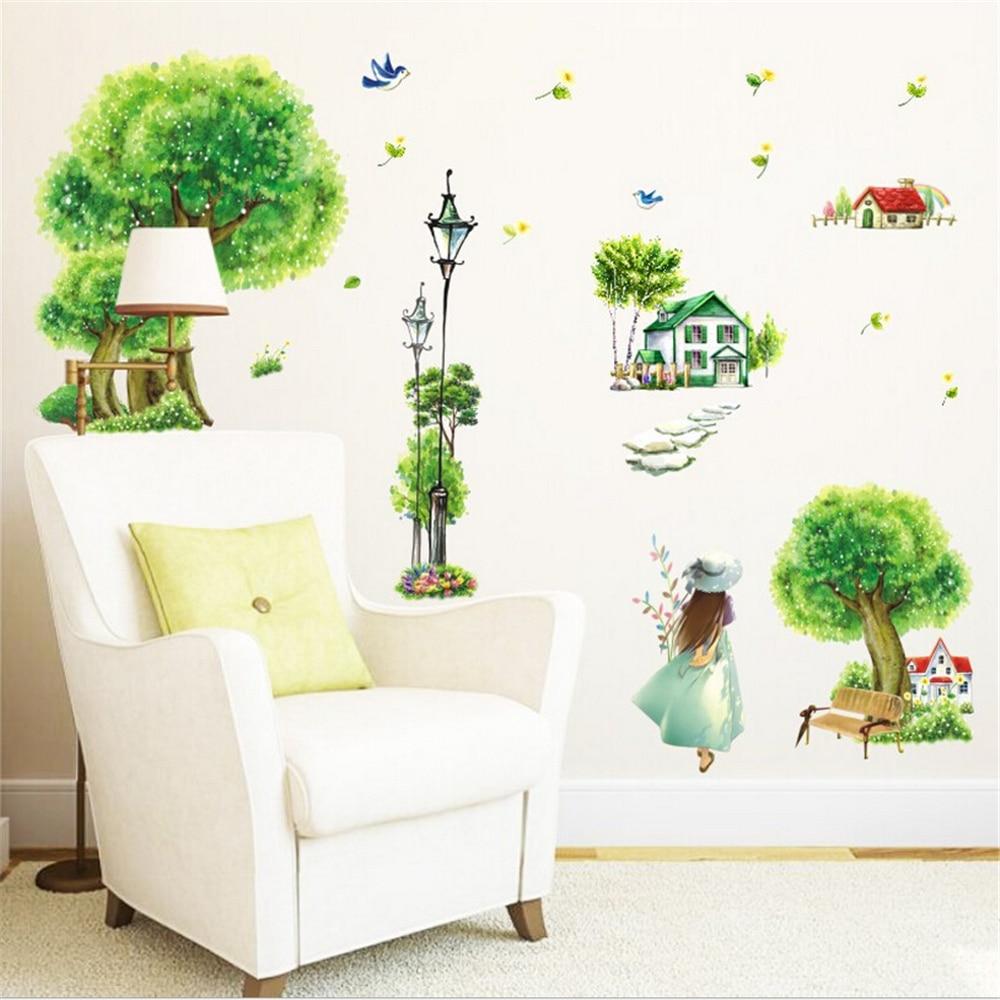 unid verdes rboles paisaje pegatinas de vinilo de pared para nios nios decoracin para