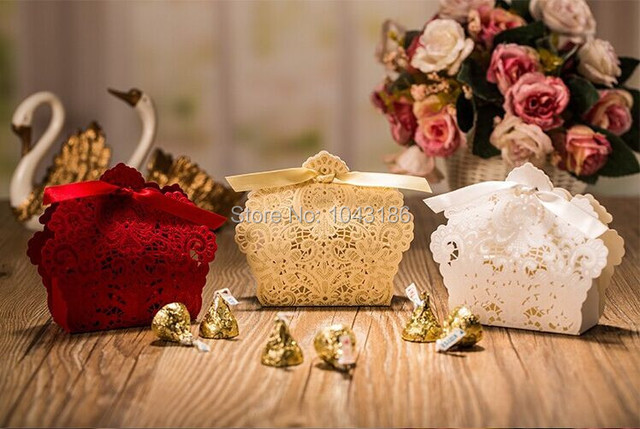 100 Pcs Free Shipping Red White Gold Laser Cut Wedding Favor Bo Candy