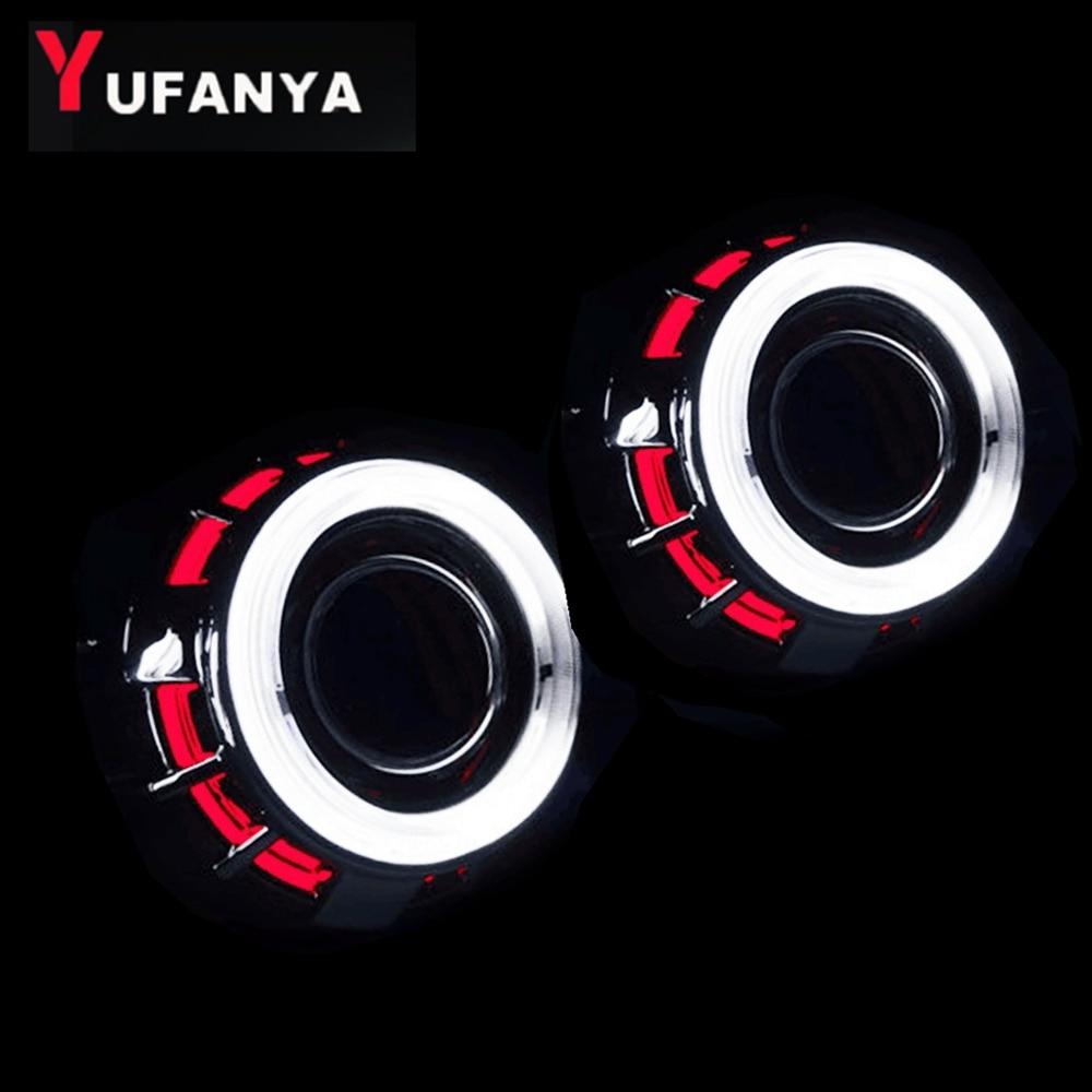 H1 bixenon projecteur lentille avec double ccfl ange yeux blanc avec bleu rouge couleur yeux hid xénon kit coversion ensemble voiture phare