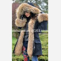 2019 Women's New Fox Fur Raccoon Fur Pike Clothing Rabbit Skin Lining Removable Lining European Station Winter Warm Fashion Comm