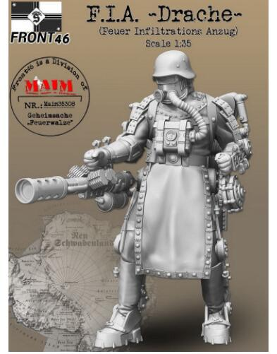 1/35 Modern Man With Drache (Fire Infiltration Suit)     Resin Model Miniature  Figure Unassembly Unpainted