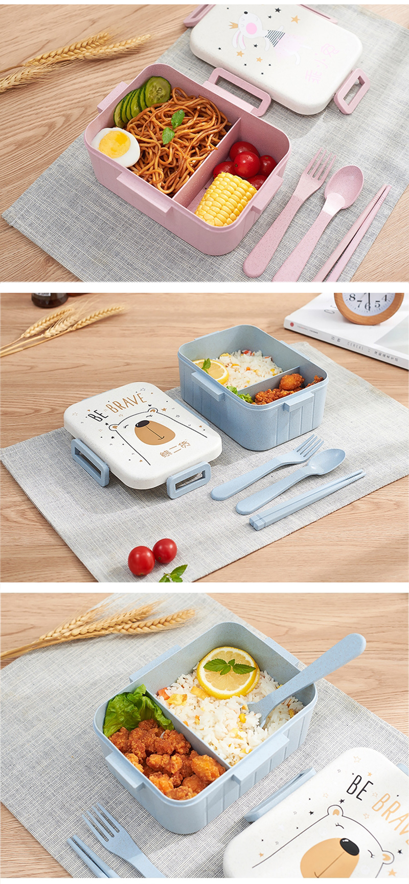 TUUTH Cute Cartoon Lunch Box Microwave Dinnerware Food Storage Container Children Kids School Office Portable Bento Box B1