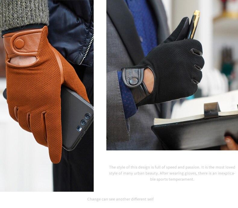 Перчатки из натуральной кожи, мужские тонкие перчатки из овечьей кожи, теплые и зимние мужские кожаные перчатки, мужские кожаные перчатки д... - 3