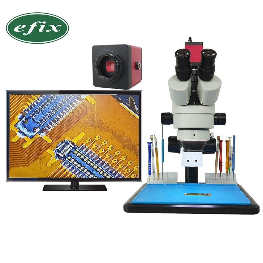 Efix 7 ~ 45x Simul-Focal Continue Zoom Trinoculaire Stéréo À Souder Microscope HDMI VGA HD Caméra Workbench Mobile Téléphone réparation
