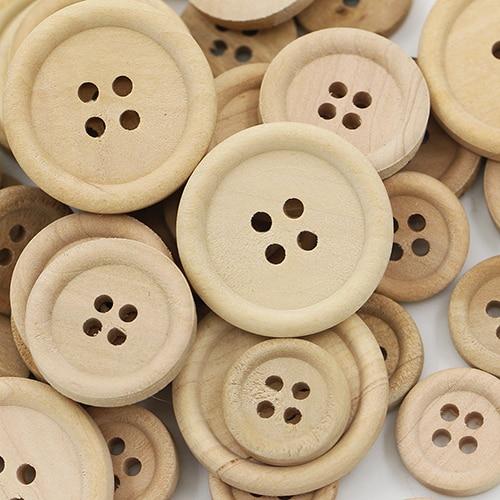 50 יחידות מעורב כפתורי עץ טבעי צבע עגול 4-חורים תפירת רעיונות DIY בגדי אביזרי תפירת כפתורים