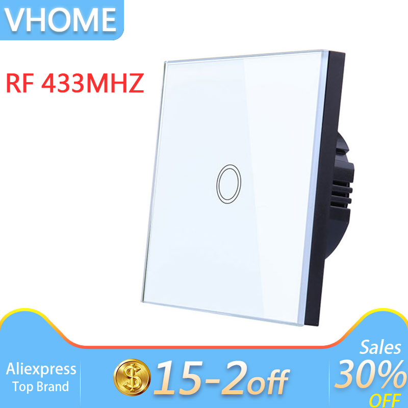 Vhome Touch Switch,433mhz Smart Home Touch Switch Panel,Ev1527 Eu/Uk/Us Standard Wifi Control Ewelink App,Smart Wall Panel