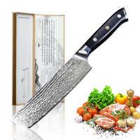 Cuchillo de cocina de 7 pulgadas SUNNECKO cuchillos de cocina japoneses de 73 capas Damasco VG10 acero 60HRC cuchillo de Chef de corte afilado G10 manejar