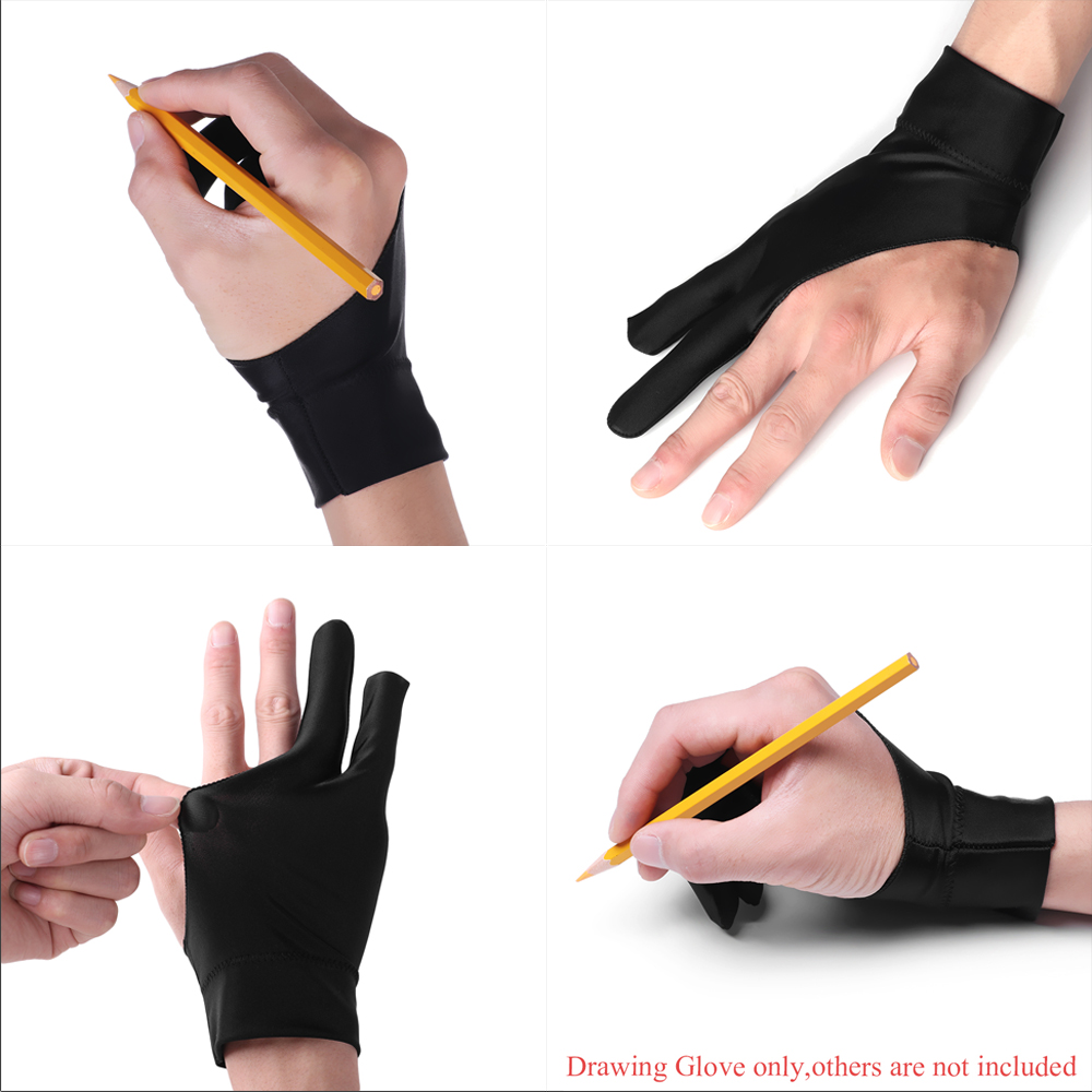 1PC Artist Drawing Mittens 2 Finger Anti-fouling Glove For Any Graphics Drawing Tablet Art Painting Supplies