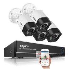 SANNCE 4CH 720 P DVR Системы Видеонаблюдения и (4) HD 1.0 МП Открытый Фиксированной Камеры Безопасности с P2P и Qr-код Сканирования Легко Удаленного