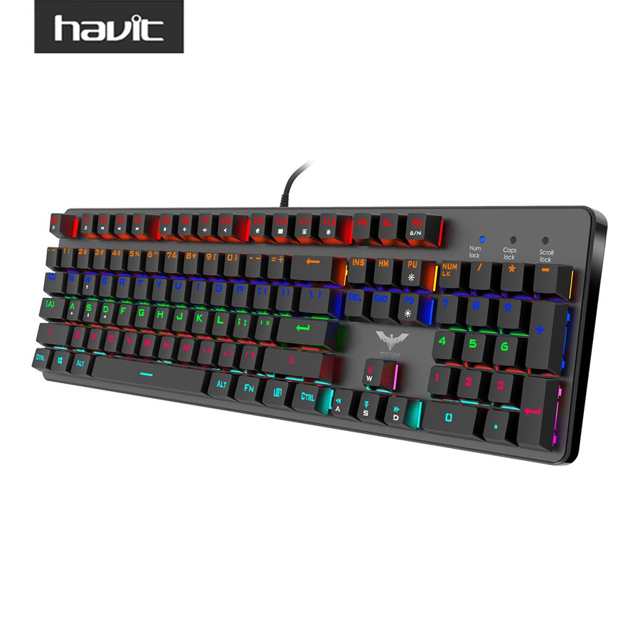 HAVIT HV-KB366L Wired Gaming Mechanical Keyboard LED Backlit Anti-Ghosting Keyboard with Blue Switches for Computer Gamer Black