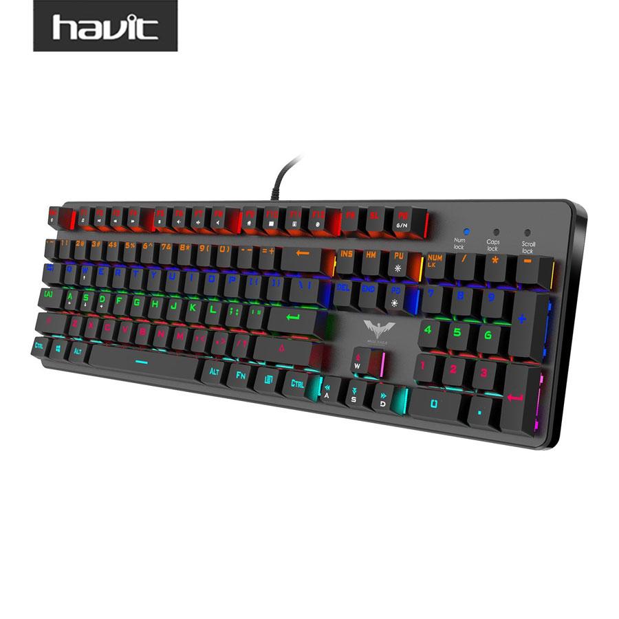 Prix pour Havit hv-kb366l filaire de jeu mécanique clavier led rétro-éclairé anti-ghosting clavier avec bleu commutateurs pour ordinateur gamer noir
