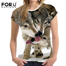 FORUDESIGNS Wolves Printed t shirt Animal 3D T Shirt Women Harajuku Short sleeve o-neck Casual Girl Elastic Soft Tees Funny Tops