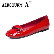 Aercourm A Spring Women Genuine Leather Shoes Female Cowhide Shoes Woman Soft Casual Women metal Shoes Red Black Low H839
