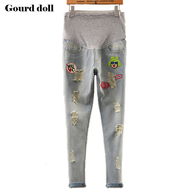 eb8e88a43f31 Gourd doll Maternity pregnancy cotton jeans pants for pregnant women  Elastic waist jeans pregnant pregnancy overalls clothes-in Jeans from  Mother   ...
