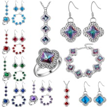 2016 sterling-silver-jewelryy Sets Luxury Rainbow Crystal Flower Jewelry Sets 925 Sliver Earrings/Pendant/Necklace/Bracelet