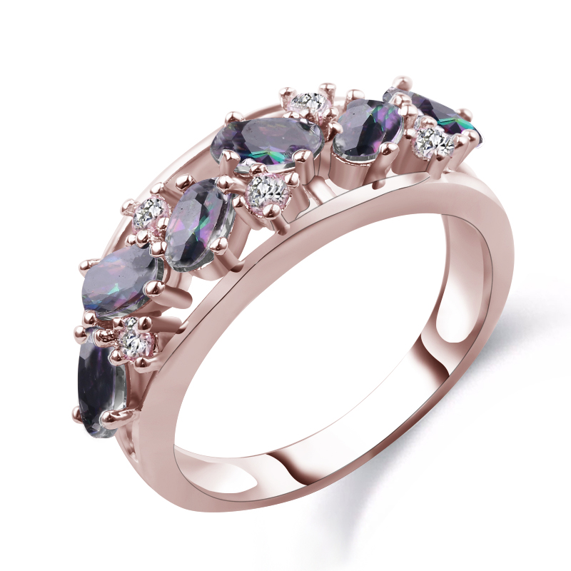 Elegant Rinbow Rose Gold Filled CZ Ring Unique Design Vintage Party Wedding Rings For Women Christmas Fashion Jewelry Anel