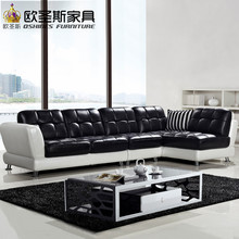 New model l shaped modern italy genuine real leather sectional latest corner furniture living room sex sofa set 620(China)