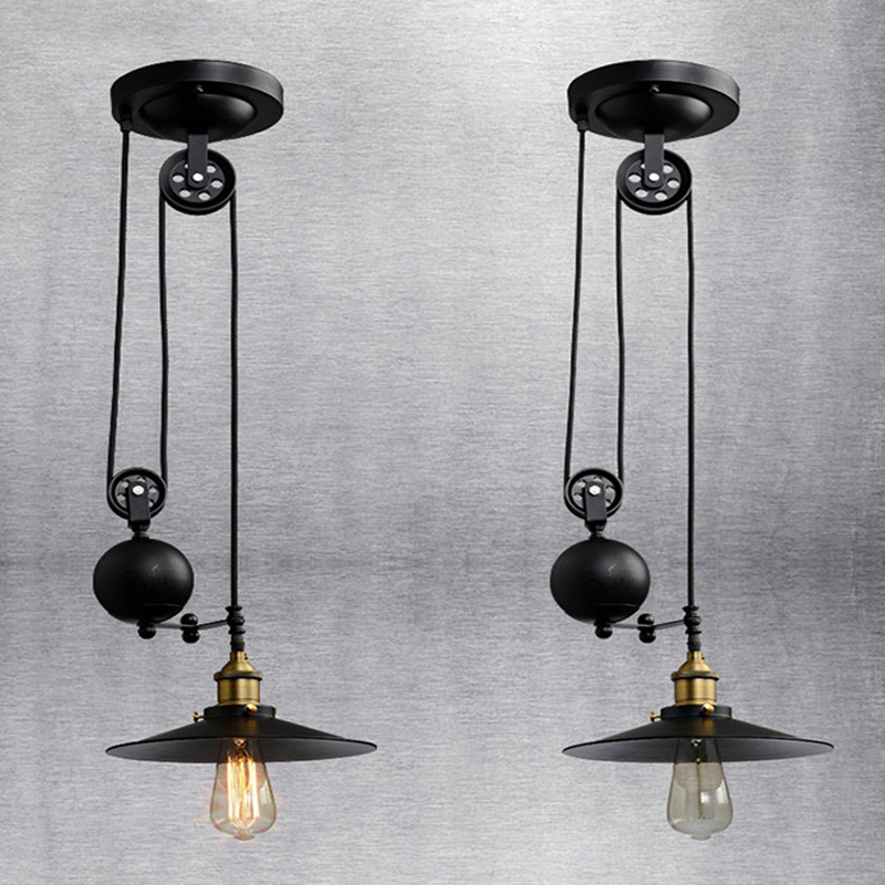 Industrial Black Iron Single Hand Pulley Pendant Light
