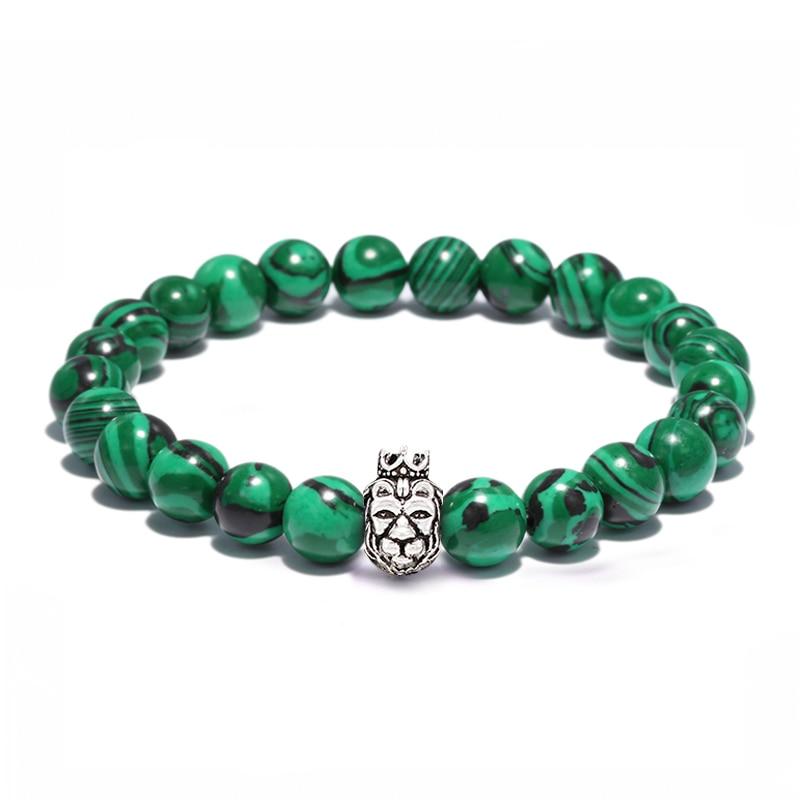Men Casual Bracelet 8mm Malachite Beaded Bracelets Cute Lion With Crowm Charm Bracelet Jewelry Top Quality Solid Color Pulsera