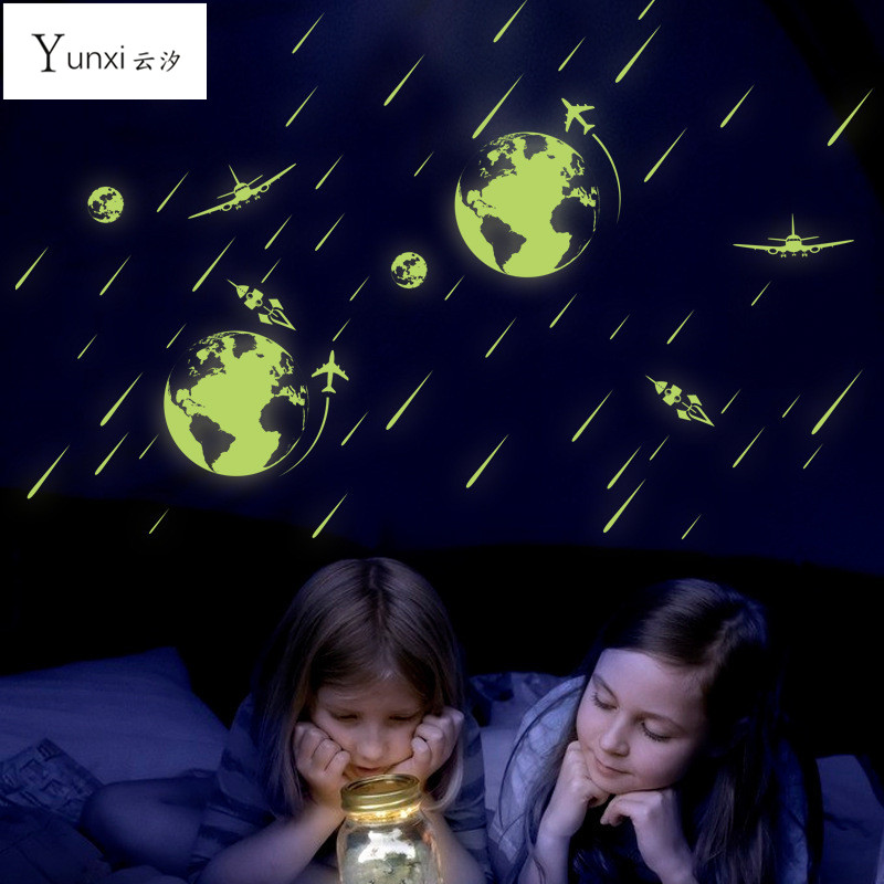 YunXi Foreign Trade Cosmic Meteor Shower Of Small Fluorescent Luminous Paste Stickers Living Room Childrens Room Wall Stickers