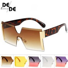 Square Oversized Sunglasses Women Fashion Rimless Sun Glasses Lady Brand Designer Vintage Shades Gafas