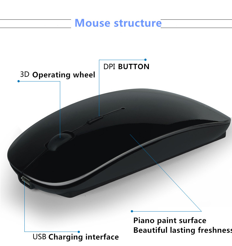 Hongsund charging mouse wireless slim compatible with Android MAC mobile tablet notebook Bluetooth Mouse 3