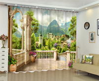 Modern Luxury Green lake scenery 3D Blackout Window Curtains For Kids Bedding room Living room Hotel Drapes Cortinas