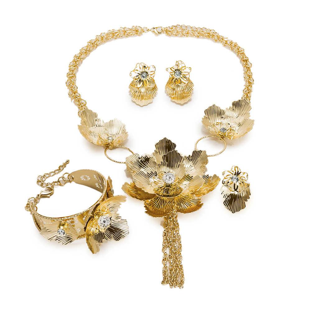 BAUS trang sức Ấn Độ 2018 thời trang Dubai Màu Vàng Cưới Trang Sức Set Bridal Quà Tặng big Nigeria Wedding Beads Phi Hạt Trang Sức Set