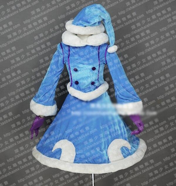 Zimní Wonder Lulu Cosplay kostým Halloween Uniform Outfit Warm Woolen Coat Top + sukně + klobouk + šátek + rukavice na zakázku
