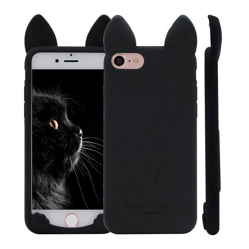 Fashion cute multicolor Cat Ears Soft Rubber Silicone Case Cover Skin for iPhone 4s 5s 5c SE 6 s 7 Plus