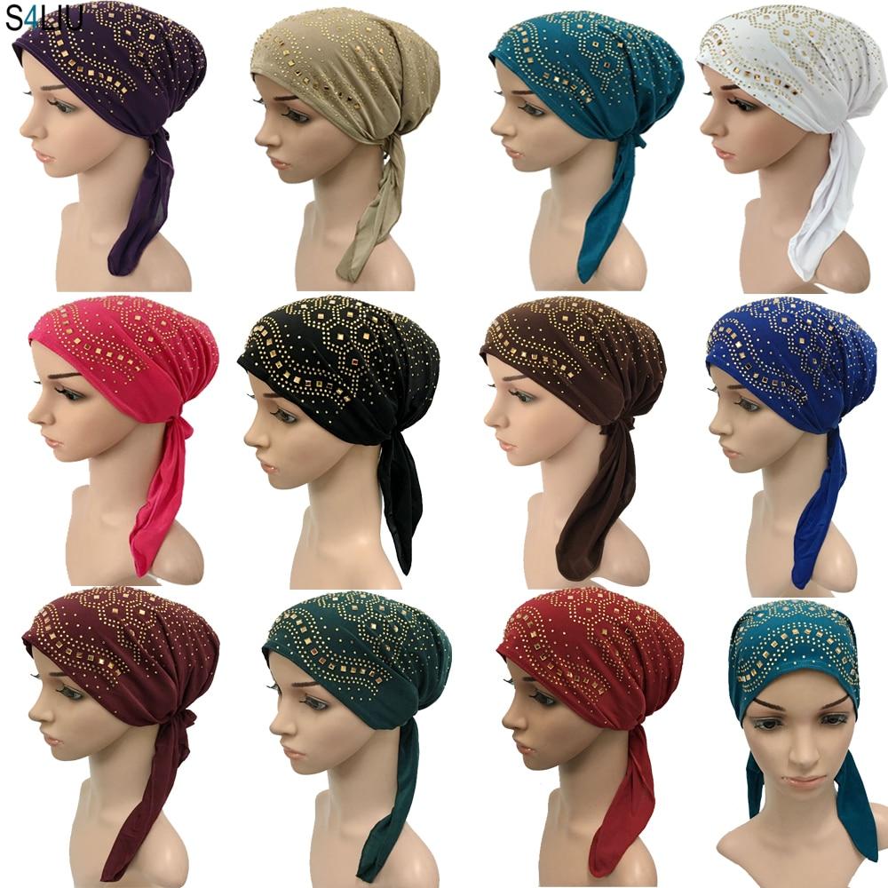 Full Cover Rhinestone Muslim Inner Hijab Cap Women's Headwear Underscarf Islamic Head Wrap Hat Bonnet Hair Loss Long Tail New