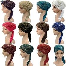 Tam kapak Rhinestone müslüman iç başörtüsü kap kadın şapkalar Underscarf islam kafa sarma şapka Bonnet saç dökülmesi uzun kuyruk yeni