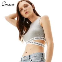 CWLSP Sexy Slim Women Tank Top Summer Cropped Top With Crossed Straps Letters Hem Skinny Female fitness Tops regata feminina