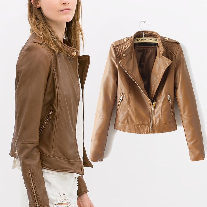 Nuevo 2015 mujeres de invierno otoño marrón cuero de la