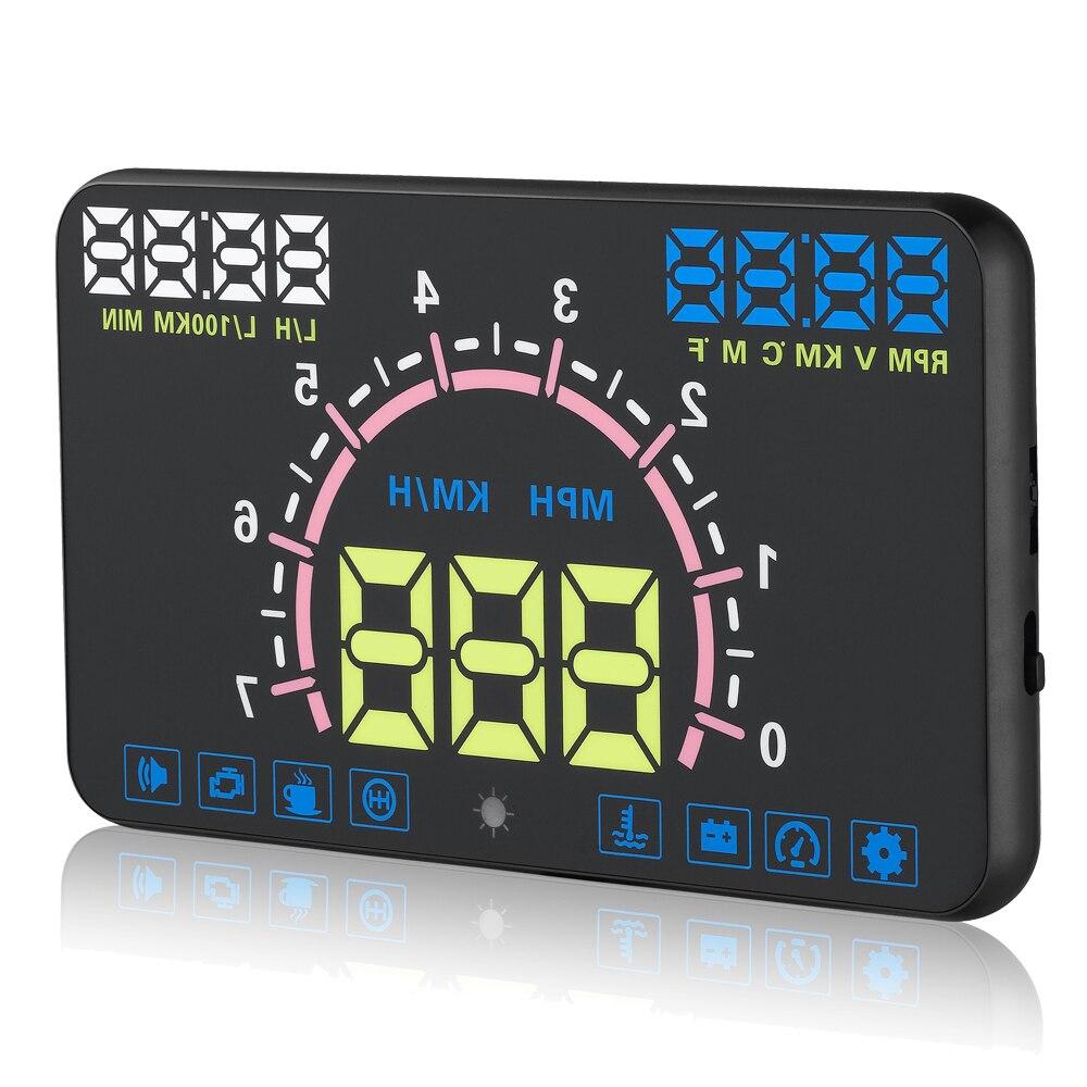 5 8 Car styling HUD Windshield Projector Car Head Up Display Vehicle Speeding Warning Digital car