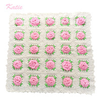 Handmade Blanket For Newborn Baby Photo Props Crochet Rose Flowers Pink Floral A105 Knitted Receiving Blankets Photography Props
