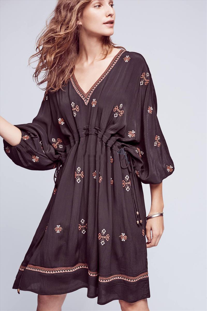V collar embroidery Flower Lace Dress ethnic hippie bohemian style dress black boho holiday dresses pleated slim cotton dress